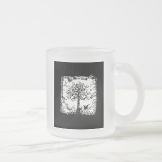 Black & White Tree Butterfly Silhouette Frosted Glass Coffee Mug