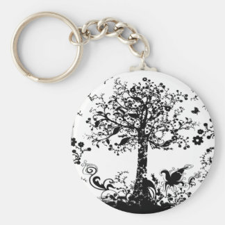 Black & White Tree Butterfly Silhouette Keychain