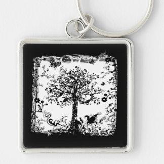 Black & White Tree Butterfly Silhouette Keychain