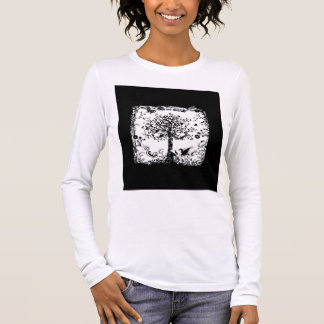 Black & White Tree Butterfly Silhouette Long Sleeve T-Shirt