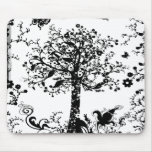 Black & White Tree Butterfly Silhouette Mouse Pad