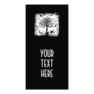 Black & White Tree Butterfly Silhouette Photo Card