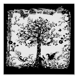 Black & White Tree Butterfly Silhouette Poster