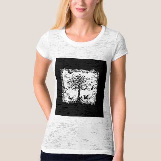 Black & White Tree Butterfly Silhouette T-Shirt