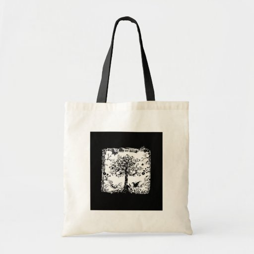 Black & White Tree Butterfly Silhouette Tote Bag