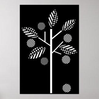 Black white tree on black background print poster print