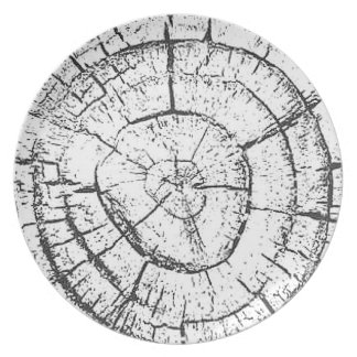 Black & White Tree Trunk Contemporary Collection Melamine Plate