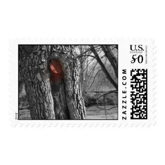Black white tree with red spray paint stamps