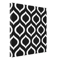 Black White Trellis Abstract Pattern Canvas Print