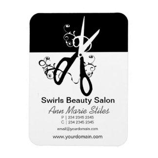 Black White  Trendy Beauty Salon Rectangular Photo Magnet