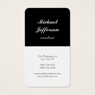 Black White Trendy Modern Minimalist Professional Business Card