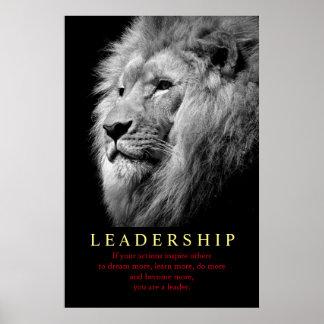 Black White Trendy Motivational Leadership Lion Poster