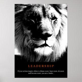 Black & White Trendy Motivational Leadership Lion Poster