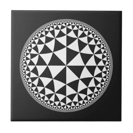 Black & White Triangle Filled Mandala Tiles