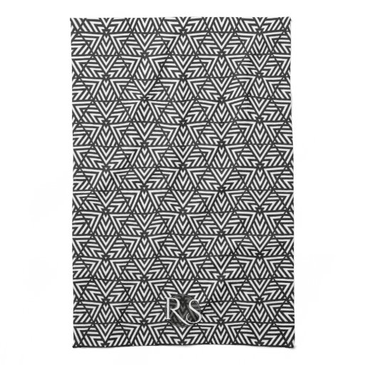Black White Triangle Pattern: Monogram Kitchen Kitchen Towel