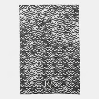 Black+White Triangle Pattern: Monogram Kitchen Kitchen Towels