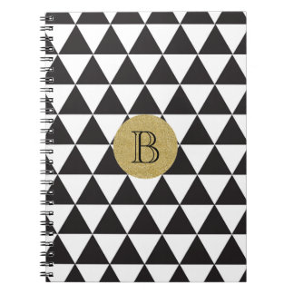 Black & White Triangles & Gold Glamour Chic Notebook