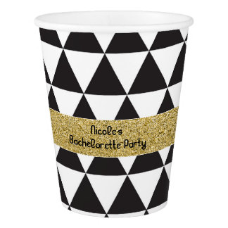 Black & White Triangles & Gold Glamour Party Cups