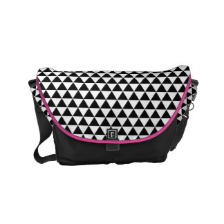 Black & White Triangles Pattern Small Messenger Bag