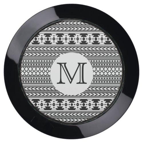 Black White Tribal Aztec Pattern Monogram USB Charging Station