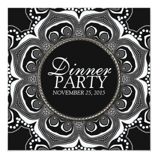 Black & White Tribal Flower Dinner Party Custom Card