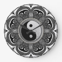 Black White Tribal Flower New Age Symbol Large Clock