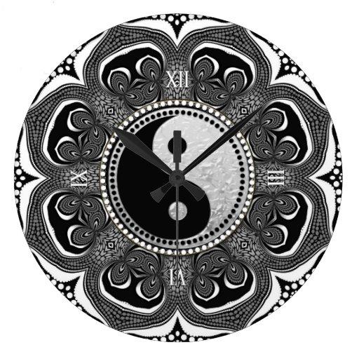 Black White Tribal Flower New Age Symbol Large Clock