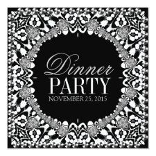 Black White Tribal Fusion Dinner Party Invitation