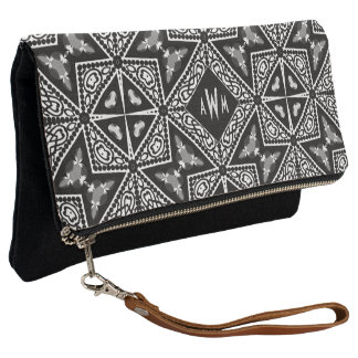 Black+White Tribal Geometric Monogram Clutch Bag