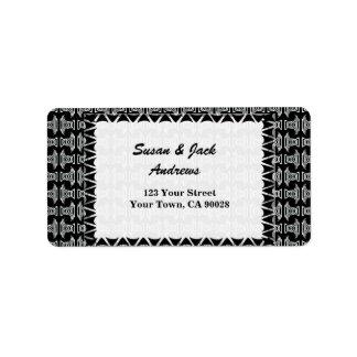Black White Tribal Pattern Label