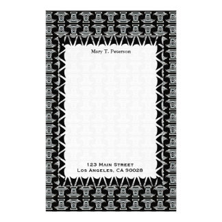 black white tribal pattern stationery design