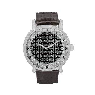 Black White Tribal Pattern Wristwatch