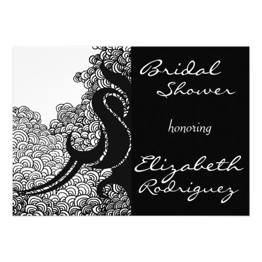 Black & White Tribal Swirls Bridal Shower Invite
