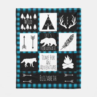 Black & White Tribal Wild Woodlands Blue Plaid Fleece Blanket