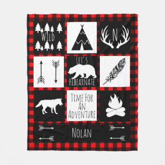 Black & White Tribal Wild Woodlands Red Plaid Fleece Blanket