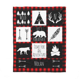 Black & White Tribal Wild Woodlands Red Plaid Fleece Blanket
