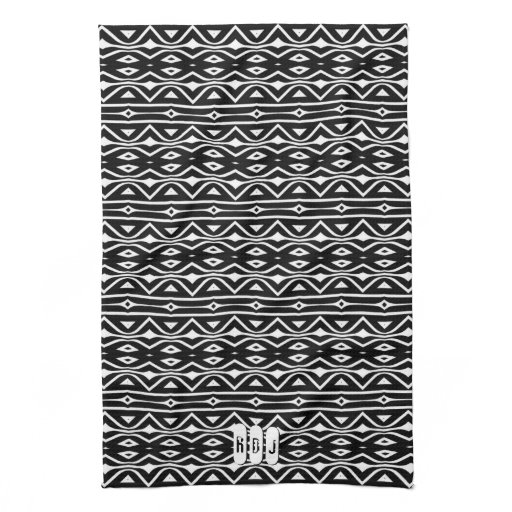Black White Tribe Pattern: Monogram Kitchen Decor Kitchen Towel