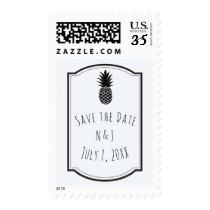 Black & White Tropical Pineapple Elegant Chic Postage