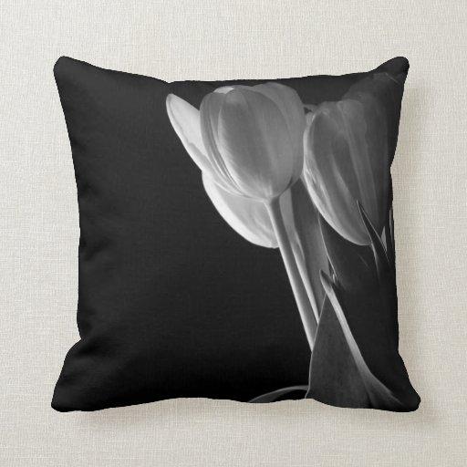 Black & White Tulips Pillow