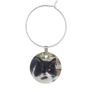 BLACK WHITE TURKISH CAT PORTRAIT WINE CHARM