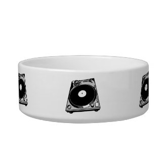 Black & White Turntable Cat Food Bowls