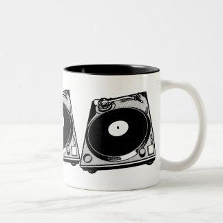 Black & White Turntable Two-Tone Coffee Mug