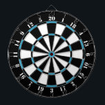 """Black White Turquoise Blue Dart Board<br><div class=""""desc"""">Black White Turquoise Blue Dart Board.    Striped Hope™ is your online store for a variety unique designs and gifts.</div>"""