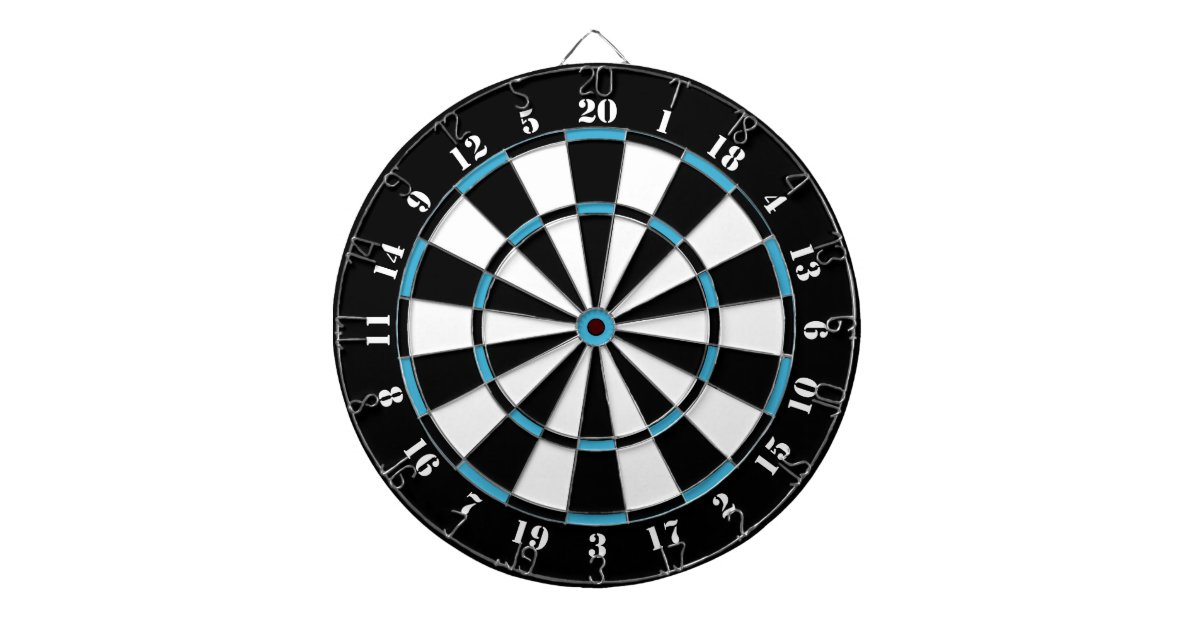 Black White Turquoise Blue Dart Board | Zazzle.com