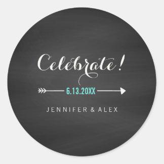 Black White Turquoise Chalkboard Celebrate Wedding Classic Round Sticker