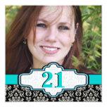 Black white turquoise damask 21st birthday photo 5.25x5.25 square paper invitation card
