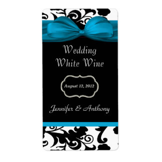 Black, White & Turquoise Damask Mini Wine Labels