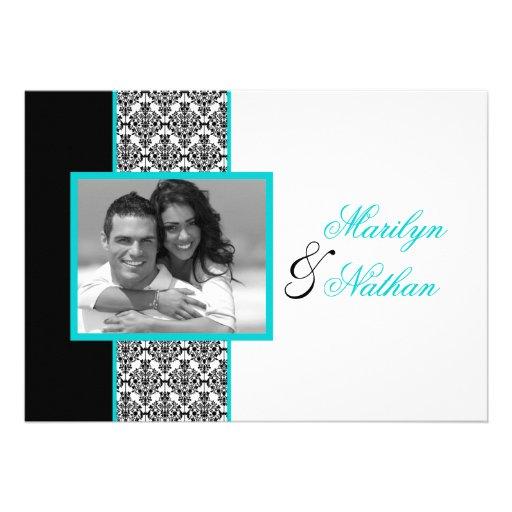 Black White Turquoise Damask Photo Wedding Invite