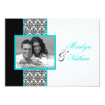 """Black White Turquoise Damask Photo Wedding Invite 5"""" X 7"""" Invitation Card"""