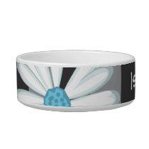 Black White Turquoise Flower Daisy Tattoo Pattern Bowl